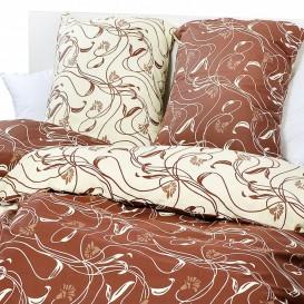 Posteľné obliečky bavlnené Hnedé kvety