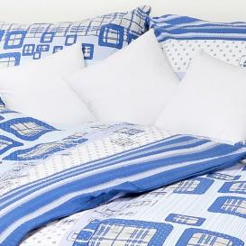 Posteľné obliečky krepové Modré kocky
