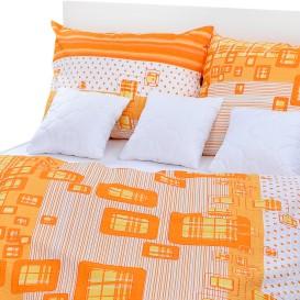 Posteľné obliečky krepové Oranžové kocky
