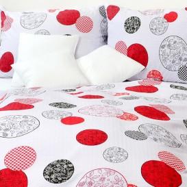 Posteľné obliečky krepové Červené kruhy