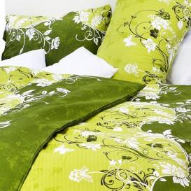 Posteľné obliečky krepové Zelené kvety