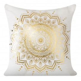Obliečka na vankúš biela Mandala zlatá 40x40cm
