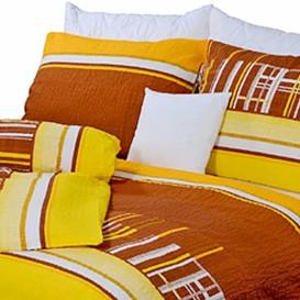 Posteľné obliečky krepové Žltohnedé kocky