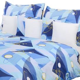 Posteľné obliečky krepové Modré geomterické tvary