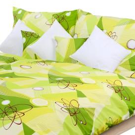 Posteľné obliečky krepové Zelené geometrické tvary