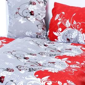 Posteľné obliečky krepové Červené kvety