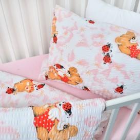 Detské posteľné obliečky bavlnené Ružové lienky