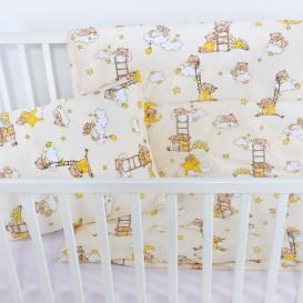 Detské posteľné obliečky bavlnené Medvedík na obláčiku žltý
