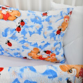 Detské posteľné obliečky krepové Modré lienky