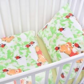 Detské posteľné obliečky krepové Zelené lienky