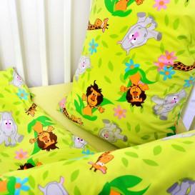 Detské posteľné obliečky krepové Zelené zvieratká