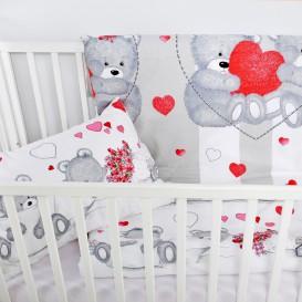 Detské posteľné obliečky bavlnené Medvedík so srdiečkom