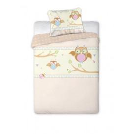 Detské posteľné obliečky bavlnené Sovičky ružové