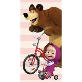 Detská osuška Máša a medveď na bicykli