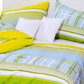 Posteľné obliečky krepové Zelenomodré kocky