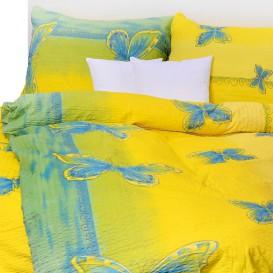 Posteľné obliečky bavlnené Žlté motýle