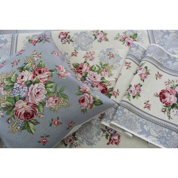 Gobelínový obrus Romantické ruže sivé