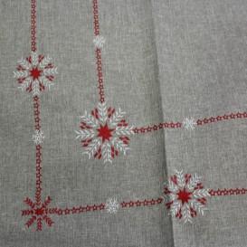 Zimný obrus červeno-strieborné vločky