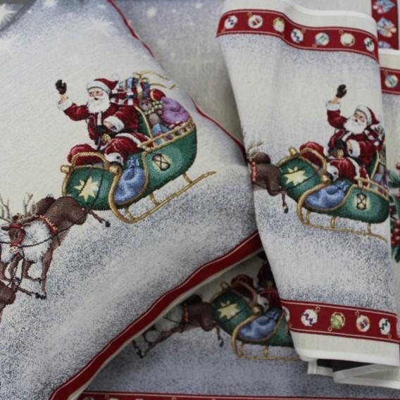 Vianočný gobelínový obrus Mikuláš a soby