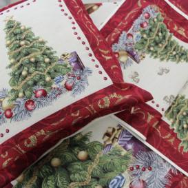 Gobelínový ubrus Vánoční stromek červený