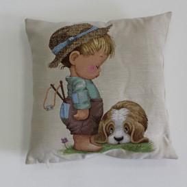 Gobelinova obliečka chlapec so psom