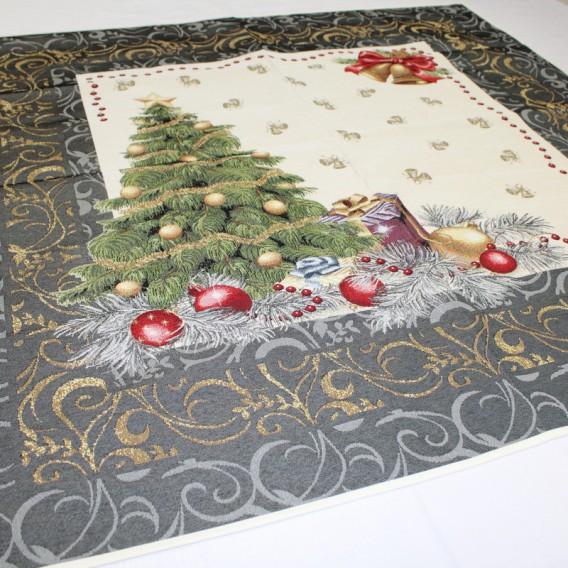 Gobelínový obrus Vianočný stromček modrý