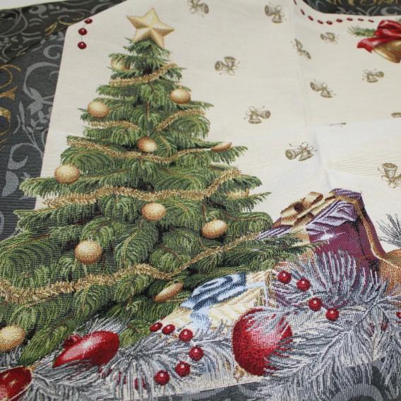 Gobelínový ubrus Vánoční stromek modrý