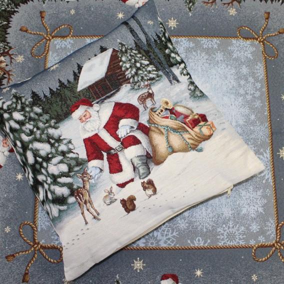 Vianočný gobelínový obrus Mikuláš s batohom