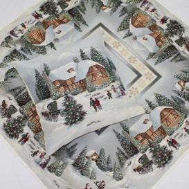 Vánoční gobelínový ubrus Zasněžené Vánoce