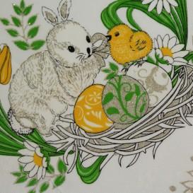 Teflónový obrus smotanový Veľkonočný zajac