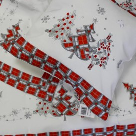 Obrus Vianočný červeno-sivé káro