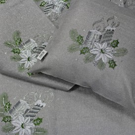 Obrus Vianočný vyšívaný sivý