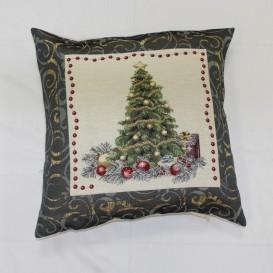 Gobelinova obliečka Vianočný stromček modrý  45x45cm