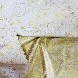 Vianočný obojstranný teflónový obrus zlatý Špirály