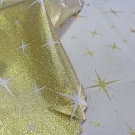 Obrus tefonový obojstranný zlatý Hviezda nová