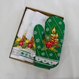 Kuchynský set zelený Vianočná sviečka