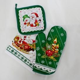 Kuchynský 3set zelený Vianočná sviečka
