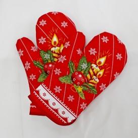 Vianočné kuchynské rukavice červené