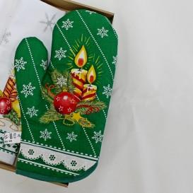 Vánoční kuchyňské rukavice zelené