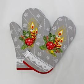 Vianočné kuchynské rukavice sivé