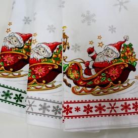 Vianočné utierky sada 2ks Mikuláš na saniach