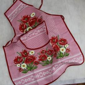 Kuchynská zástera Vlčie maky - ružová
