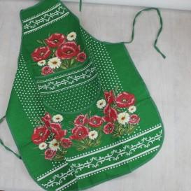 Kuchynská zástera Vlčie maky - zelená