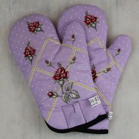 Kuchynské rukavice ruže - fialová