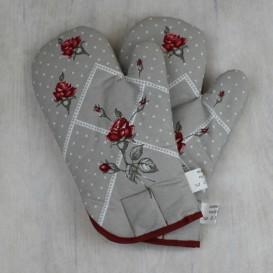 Kuchynské rukavice ruže - sivá