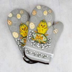 Kuchyňské rukavice velikonoční kuřátko a zajíc - šedá