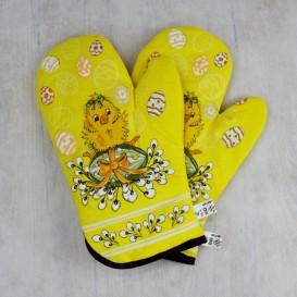 Kuchyňské rukavice velikonoční kuřátko a zajíc - žlutá