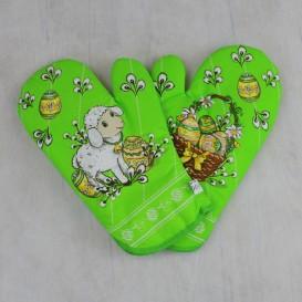 Kuchynské rukavice veľkonočný baranček - zelená