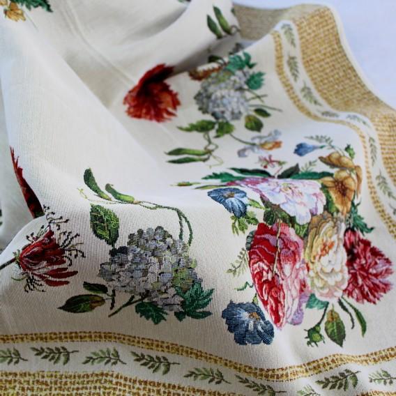 Gobelínový obrus Béžové barokové kvety 100x100cm