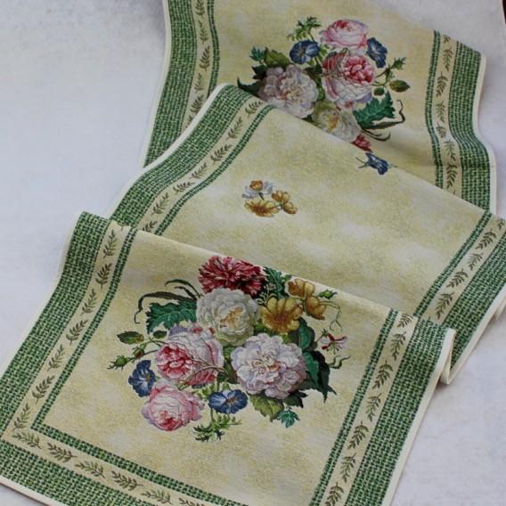Gobelínový obrus Zelené barokové kvety 45x100cm